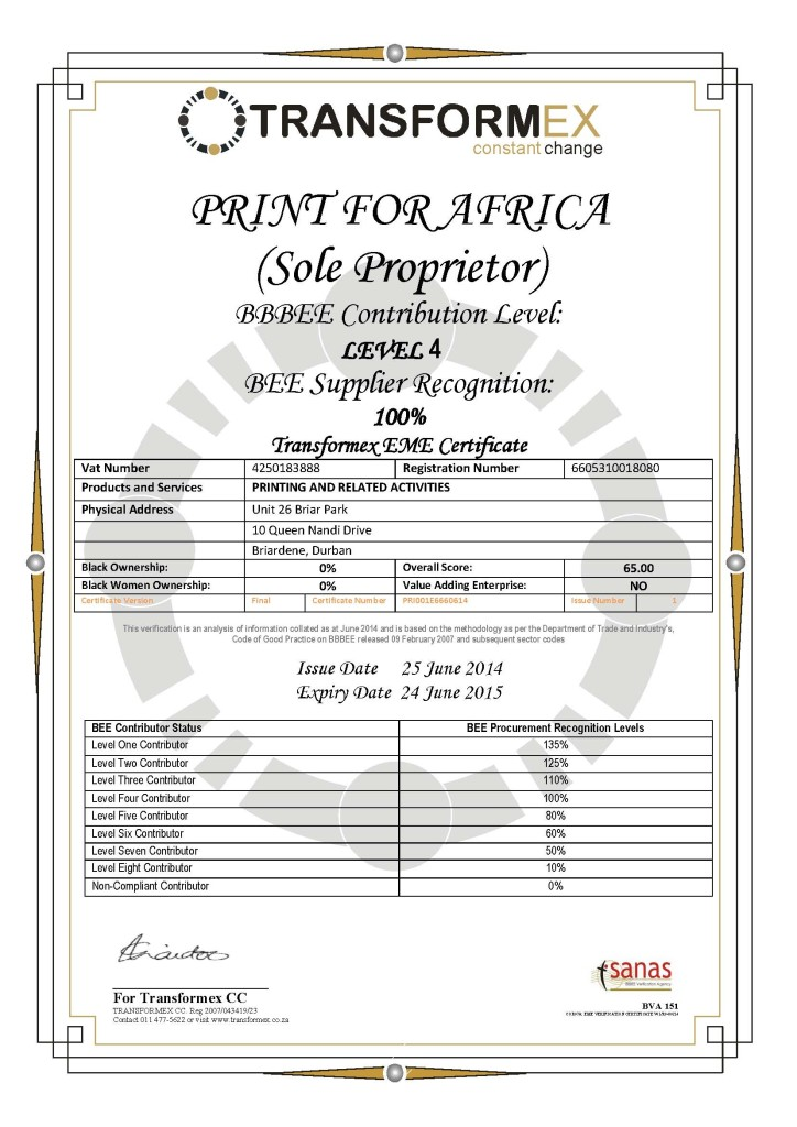 BEE Certificate COR07-EME Certificate for Print for Africa